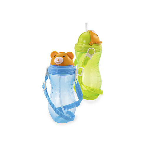 "HAPPY CARE. Sport Flip-Top Straw Cup with straw ""Teddy Bear"""