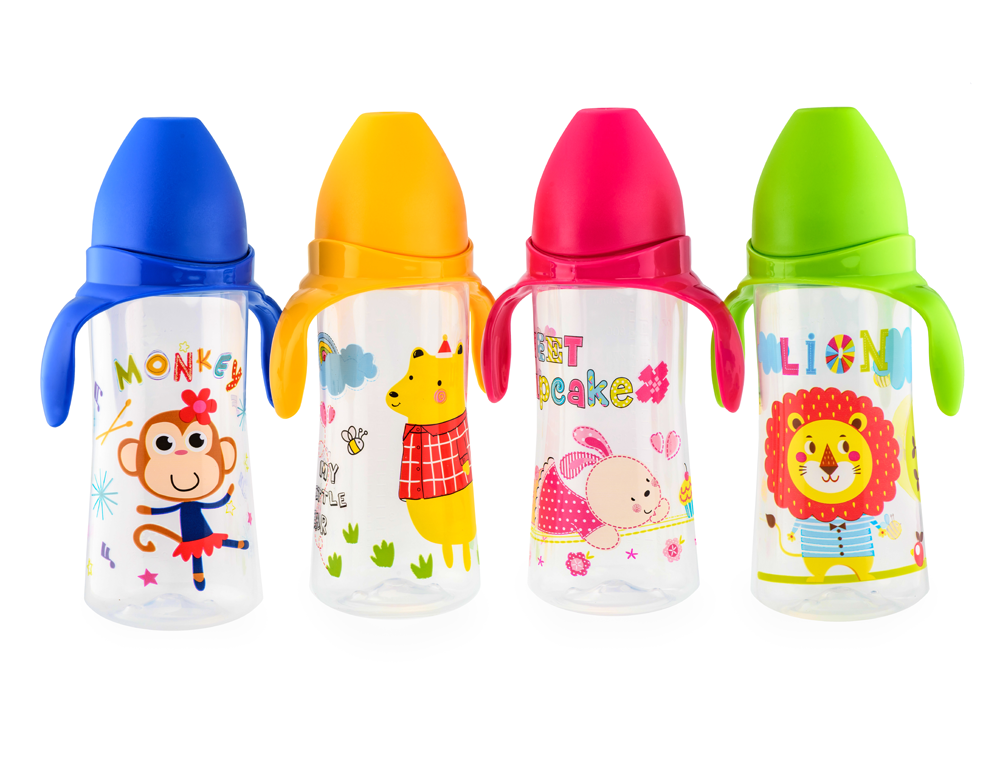 HAPPY CARE. Sweet Baby Feeding Bottle with Handles with Silicone Nipple 330ml
