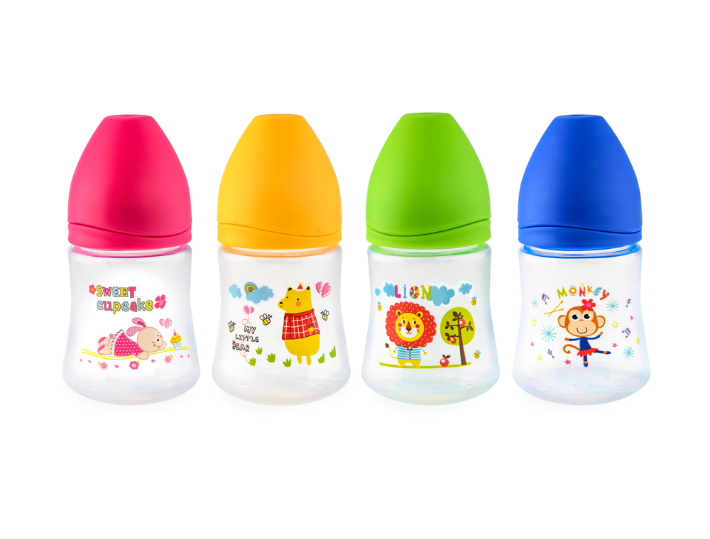HAPPY CARE. Sweet Baby Feeding Bottle with Silicone Nipple 150ml