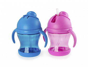 HAPPY CARE. Spill Proof Flip-Top Straw Cup with Handles