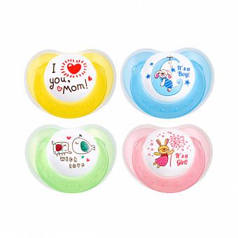 HAPPY CARE. Sweet Baby Silicone Soother with Protection Cap Size 1